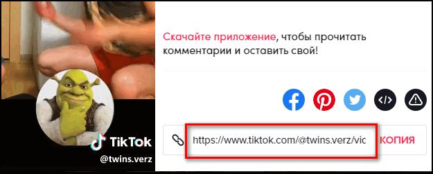 Скопировать ссылку на видео в пк версии